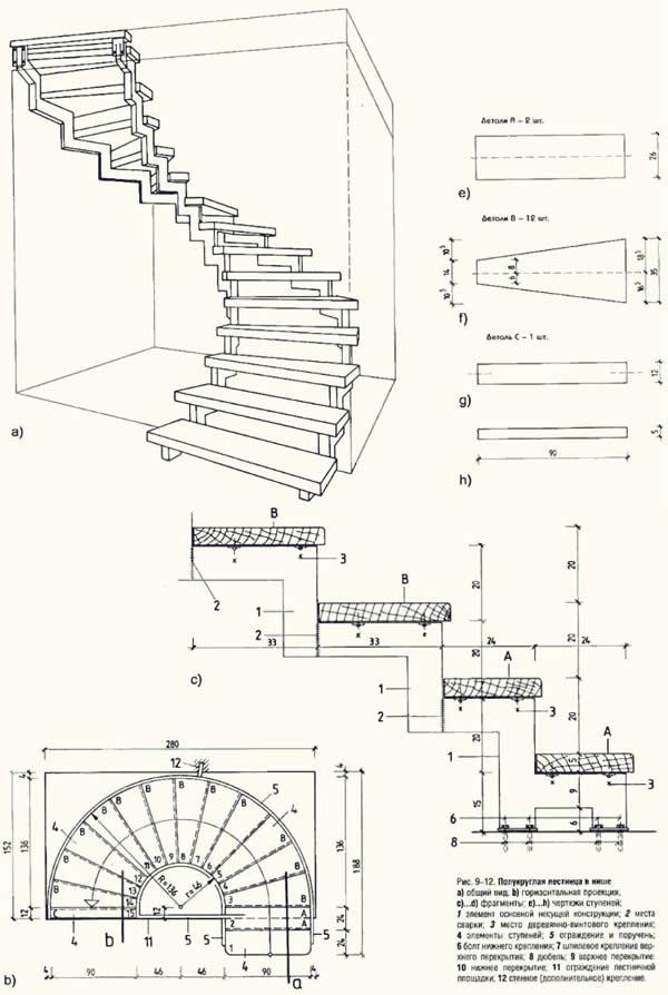 Винтовая лестница своими руками из дерева чертежи